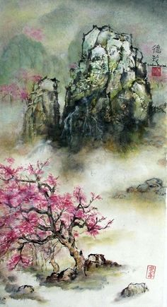 Darlene Kaplan - Landscape in Pink #sumie #brushpainting #Ink and Wash Painting #Chinese Art #Japanese Art
