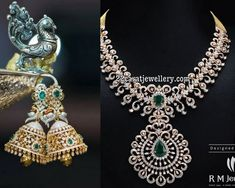 Splendid diamond necklace and tremendous peacock diamond jhumkas from RM Jewellers. The necklace itself very attractive and dazzling look with brilliant cut and rose cut diamonds.