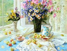 lovely tea time with flowers...