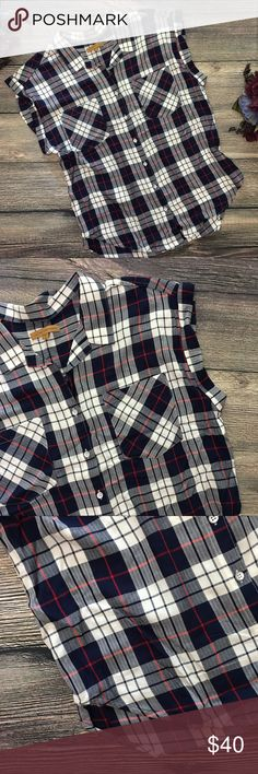 """Jach's Girlfriend Sleeveless Plaid buttondown sz L Meet Britt. She's a comfy soft plaid sleeveless button down from Jach's Girlfriend, a gorgeous plaid pattern of navy blue, white and red. Short cuffed sleeves gives sleeveless look, front button down, front pockets, rounded hem, perfect for layering over skinny jeans, 100% rayon and super soft, excellent condition, approx 21"""" bust/pit to pit, 27"""" length when laid flat, size large (I4) offers warmly received. Jachs Girlfriend Tops"""
