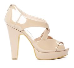 "Sole Society ""Arielle"", $49.95...  Peep toe heel with crisscross straps. Features platform heel and back zip closure        Platform Description: 3/4""      Material: Faux Patent      Heel Height: 4 3/4""      Fit: True to size"