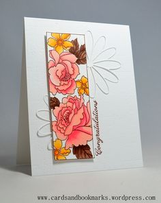 handmade card with beautiful flowers colored with copics ... like the design of this card with the color confined to the one panel ... white die cut flowers outside ... sentiment vertical along the edg of the dard...