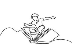 Illustration of Small boy flying with book in the sky. Continuous line drawing vector art, clipart and stock vectors. Easy Doodles Drawings, Simple Doodles, Art Drawings, Bullet Journal October, Continuous Line Drawing, Small Boy, Banner Printing, Kids Reading, Minimalist Art