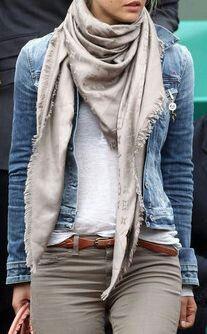 White tee, khakis, scarf & jean jacket