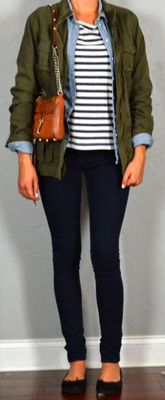 Outfit Posts: Guest outfit post - sister week: military jacket, chambray shirt, striped tee, black flats