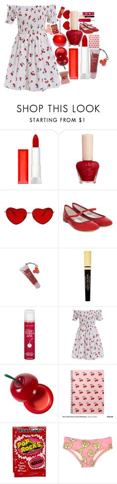 """""""my cherries and wine"""" by kokobutah ❤ liked on Polyvore featuring Maybelline, Paul & Joe, Repetto, Max Factor, TONYMOLY and River Island"""