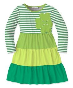 97a87a9f1b1 Sunshine Swing Classic Green Stripe Clover A-Line Dress - Toddler   Girls
