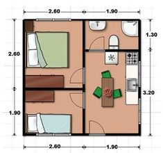 smaller bedroom wall removed and used as living room area-Cabin Little House Plans, Small House Plans, House Floor Plans, Tiny House Loft, Tiny House Living, Living Room, Studio Apartment Layout, 2 Bedroom House Plans, Hotel Room Design