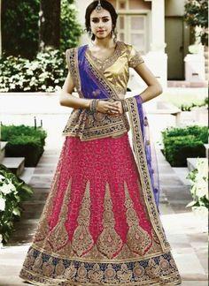 Blue Pink Embroidery Work Net Santoon Designer Wedding Fancy Lehenga Choli         #LEHENGA #Choli #Wedding #Bridal       http://www.angelnx.com/Lehenga Choli