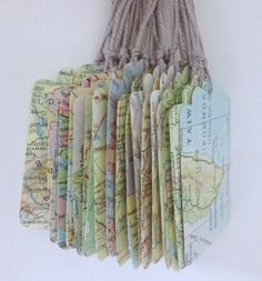 Vintage Atlas Map Tags Set of 10 wedding favours by 10PaperLane