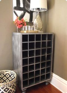 DIY Restoration Hardware inspired wine cabinet with a faux zinc finish Diy Home Decor Projects, Furniture Projects, Furniture Makeover, Diy Furniture, House Furniture, Modern Furniture, Furniture Design, Outdoor Furniture, Restoration Hardware Store