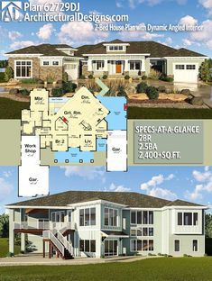 Architectural Designs House Plan 62729DJ. 2BR | 2.5BA | 2,400+SQ.FT. Ready when you are. Where do YOU want to build? #62729dj #adhouseplans #architecturaldesigns #houseplan #architecture #newhome #newconstruction #newhouse #homedesign #dreamhome #dreamhouse #homeplan #architecture #architect