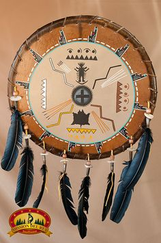 This authentic Native American Tigua Indian deer skin mandala shield is a perfect wall ornament and is a one-of-a-kind treasure that would make a great gift. Skillfully, handcrafted, it is decorated w Native American Projects, Native American Symbols, Native American Pottery, Native American History, Native American Indians, Native Indian, Native Art, Indiana, Navajo Nation