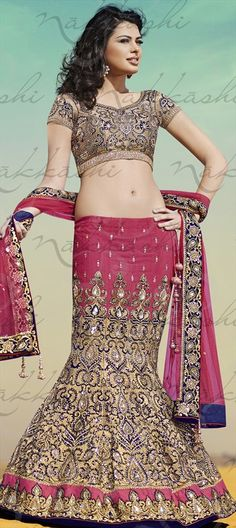 327635f7869cb2 Silk Bridal Lehenga in Pink and Majenta with Zari work