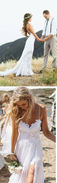 Beach Simple Wedding Dresses, Casual Wedding Dresses, White Tulle A-line Wedding Dress, Princess V neck Wedding Dress,Spaghetti Straps Wedding Dresses