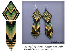 Scheme earrings - tiling / brick weave