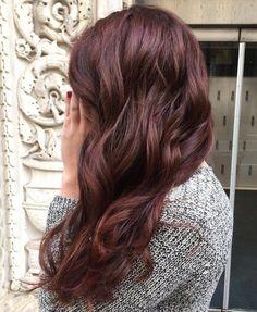 Deep Chocolate Auburn wavy burgundy hair