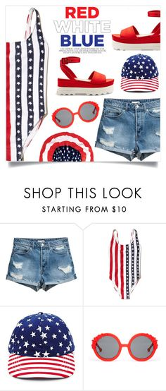 """Let's celebrate the 4th in the pool!!!"" by alaria ❤ liked on Polyvore featuring Hollister Co., Forever 21, Preen, fourthofjuly and poolparty"