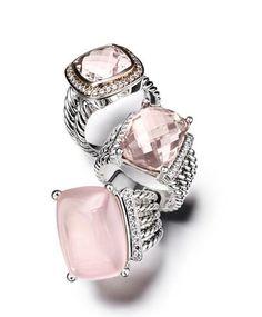 Gorgeous pink  silver David Yurman rings #jewelry #fashion ...