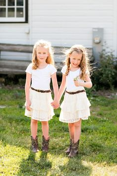 Classic farm wedding flower girls in cowboy boots - Click image to find more Kids Pinterest pins