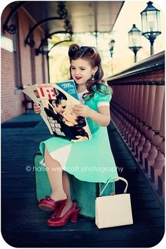 LOVE this photo! The hair, dress, magazine, shoes.. so 50's. Recreate this look for your little girl with the custom dress by p1xie on Etsy. peaceandpaper