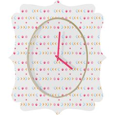 Laura Redburn Dot Dot Chevron Quatrefoil Clock #dot #chevron #pattern #pastel #home #decor
