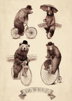 """Bears on Bicycles"" by Eric Fan on Displate #bear #illustration #animal #bicycle #umbrella #displate"