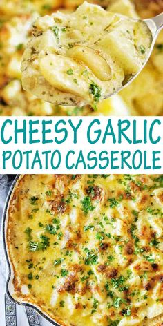 Easy homemade cheesy potato casserole with skin on cubed potatoes. BEST EVER side dish that goes with everything! #potatoes @sweetcaramelsunday Potato Sides, Potato Side Dishes, Side Dishes Easy, Side Dish Recipes, Dinner Recipes, Holiday Recipes, Dinner Ideas, Garlic Roasted Potatoes, Healthy Potatoes