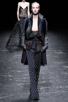 Decided Haider Ackermann SS13 RTW is favourite collection. Reminiscent of Kimono structure, severe sheers, midnight hues and mix-match of subtle metallic prints. Love the leather weave bands.