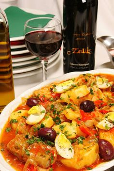 Portuguese Cod with Potatoes (Bacalhau) (Can add red bell peppers, paprika, white wine).