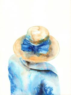 Woman wearing straw hat with blue bow, painting, watercolors on paper.