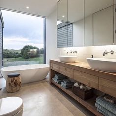 Turn to the vanity to introduce wooden element into the modern bathroom Amazing Modern Bathroom Design Ideas to Increase Home Values Bad Inspiration, Bathroom Inspiration, Bathroom Ideas, Bathroom Organization, Bathroom Remodeling, Bathroom Storage, Remodeling Ideas, Towel Storage, Bathroom Plants