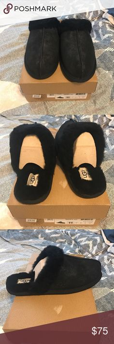 Black UGG Slippers Brand New in box. Never tried on. Received as a gift but wrong size. Comes with box. UGG Shoes Slippers