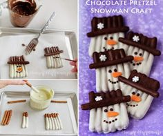 This Snowman Pretzels Recipe has been a sensation and they are so easy to make and look great. Be sure to watch the quick video tutorial too. Christmas Candy, Christmas Desserts, Christmas Treats, Holiday Treats, Holiday Recipes, Christmas Holidays, Christmas Parties, Holiday Foods, Christmas Recipes