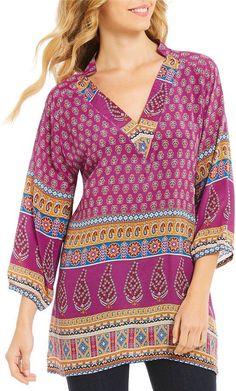 Tolani Nisha V-Neck Printed Tunic