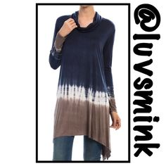 TYE DYED TURTLE NECK TUNIC -  SMALL A perfect piece to compliment your casual side. Hues of blue, taupe, and Ivory that softly drape the body. Great over jeans or leggings; wear the sleeves down or pushed up.  Rayon/Spandex, 95/5; length is 36 inches.  No trades or holds; price is firm, unless bundled.  Available in Small, Medium, or Large, only; please check size chart for your size.  This listing is a size SMALL Mona B Tops Tunics