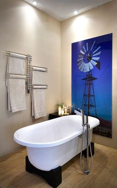 If you are planning a complete bathroom makeover or just want to add a few stylish updates, this year's bathroom trends will add more than a touch of glam to that small room. Windmill Art, South African Design, Bathroom Prints, Complete Bathrooms, A Frame House, Bathroom Pictures, Windmills, Bathroom Inspiration, Shabby Chic