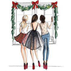 """Twas the night before Christmas…"" – Holly Nichols Illustration - New Sites Foto Fashion, Fashion Art, Girl Fashion, Trendy Fashion, Best Friend Drawings, Bff Drawings, Elephant Drawings, Illustration Noel, Christmas Illustration"