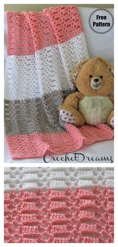 Easy Crochet Lace Baby Blanket Free Pattern This blanket is comfy and stylish. Snuggle your little one in this easy to crochet blanket using this Easy Crochet Lace Baby Blanket Free Pattern. Plaid Au Crochet, Crochet Baby Shawl, Crochet Baby Blanket Free Pattern, Easy Crochet Blanket, Crochet Blanket Patterns, Baby Patterns, Crochet Lace, Baby Knitting, Free Crochet
