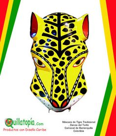 Máscara de Tigre Tradicional, Carnaval de Barranquilla - 100% Hecho a Mano