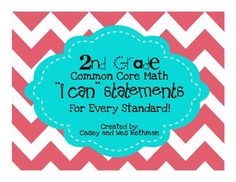 2nd Grade Common Core Math I Can Statements - Chevron Print