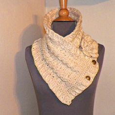 Triangle Infinity Scarf Outlander Cowl Oversized Ivory Celtic Highland Chunky Neckwarmer Winter Crochet Knit Womens Winter Scarf - product images  of