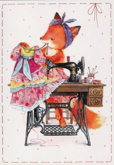 Fox sewing dress sewing mashine singer Chistotina Russian modern postcard