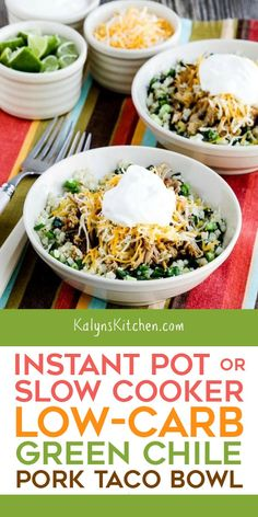 For this Instant Pot Low-Carb Green Chile Pork Taco Bowl, make green chile pork in the Instant Pot (or slow cooker) and then serve it over cauliflower rice! Pork Recipes, Slow Cooker Recipes, Low Carb Recipes, Crockpot Recipes, Free Recipes, Dinner Crockpot, Taco Bowls, Instant Pot Dinner Recipes, Recipes Dinner