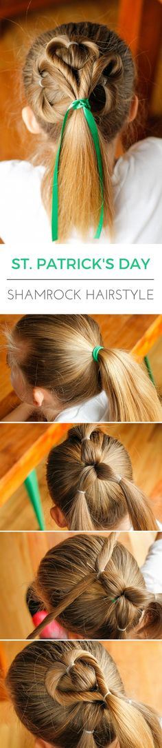 Simple Shamrock Hair -- this adorable St. Patrick's Day shamrock hairstyle is really VERY simple and easy to create with any hair texture! Click on the image for complete step-by-step directions to create this clover leaf effect...   via @unsophisticook on unsophisticook.com