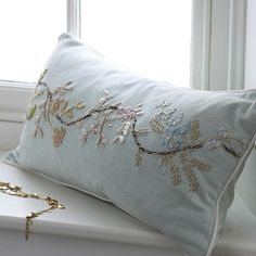 ❥ Soft duck-egg linen cushion embroidered and embellished with ribbon flowers
