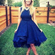Navy Blue Jacguard Dress Prom Bridemaid Cocktail