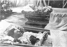 Archduke Ferdinand and his wife, Sofia lying in state. 1914