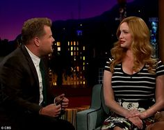A-list guests: The Mad Men star, Christina Hendricks, appeared on James Corden's The Late Late Show with Laverne Cox. July, 2015.