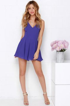 Chic Royal Blue Romper - Backless Romper - Sleeveless Romper - $44.00